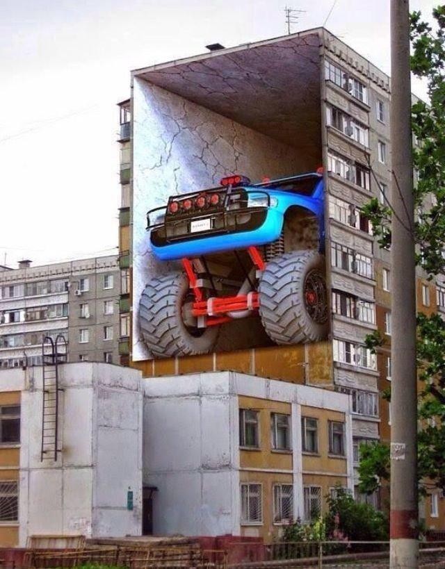 Крутые 3D уличные рисунки