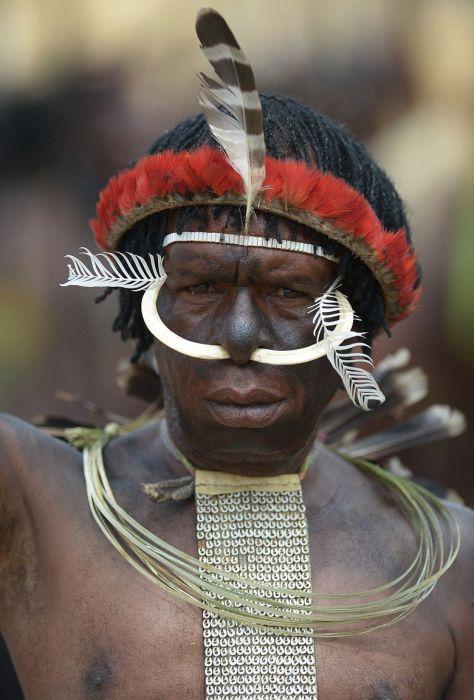 Жизнь дикого племени Дани в Папуа-Новой Гвинеи