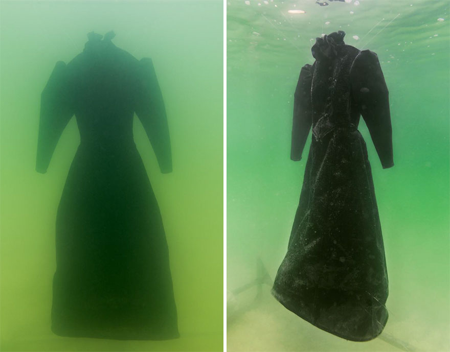 Погруженное в Мертвое море платье превратилось в оригинальную скульптуру