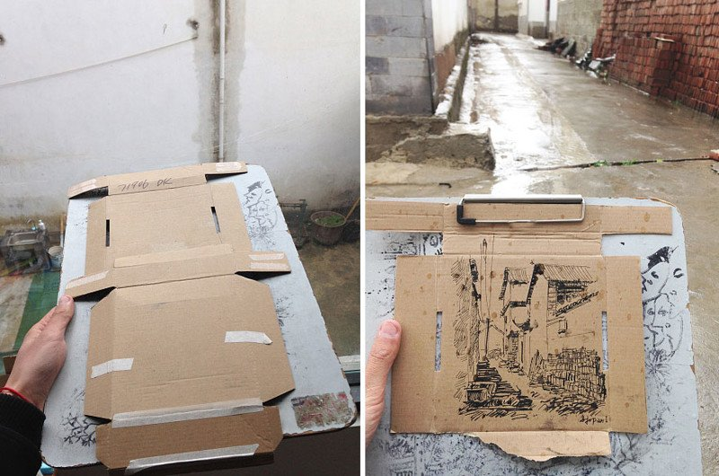 Художник из Китая создает свои картины на самом обычном мусоре