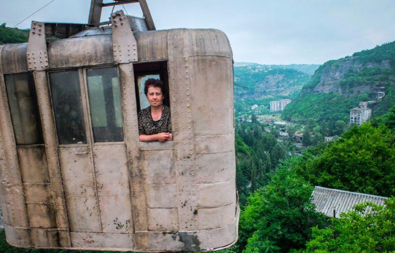 Жуткая канатная дорога времен СССР в грузинском городке