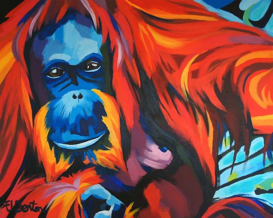 Яркие портреты животных и людей от Элли Бентон