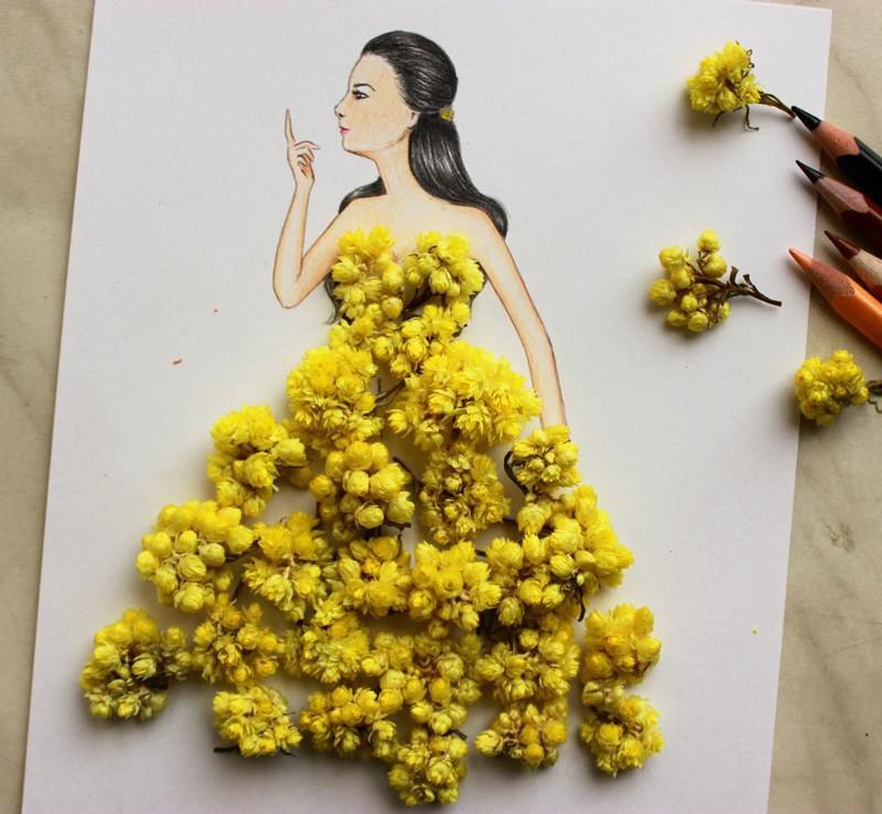 Иллюстратор из Армении создает потрясающие эскизы одежды из подручных средств