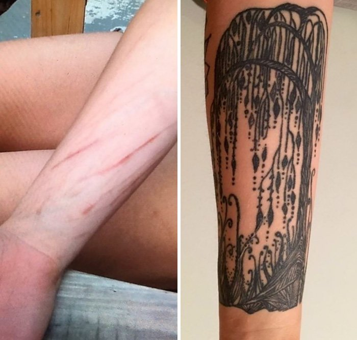 Кавер-ап тату, которые умело скрывают шрамы