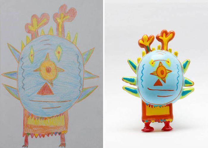 Игрушки, напечатанные на 3D-принтере по мотивам детских рисунков