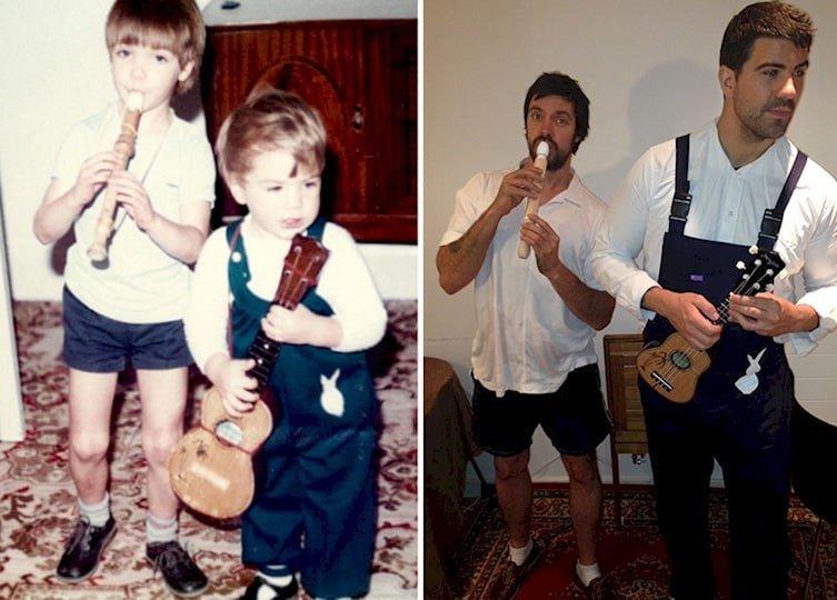 Братья воссоздали детские снимки на День матери