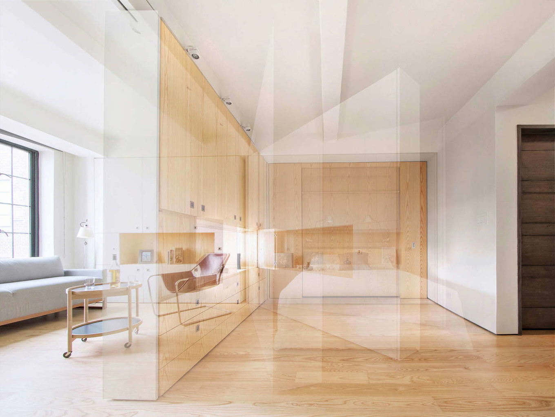 Интерьер студии с отделкой из дерева в Нью-Йорке
