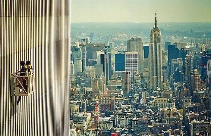 Мойка зданий на высоте