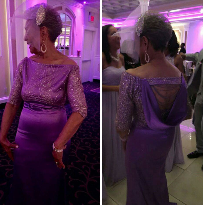 86-летняя невеста вышла замуж в шикарном платье собственного дизайна
