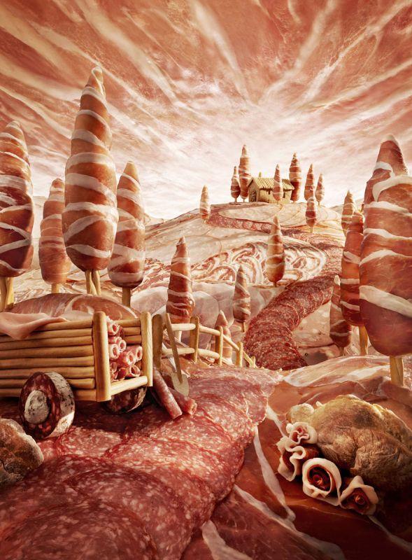 Вкусные пейзажи из продуктов от Карла Уорнера