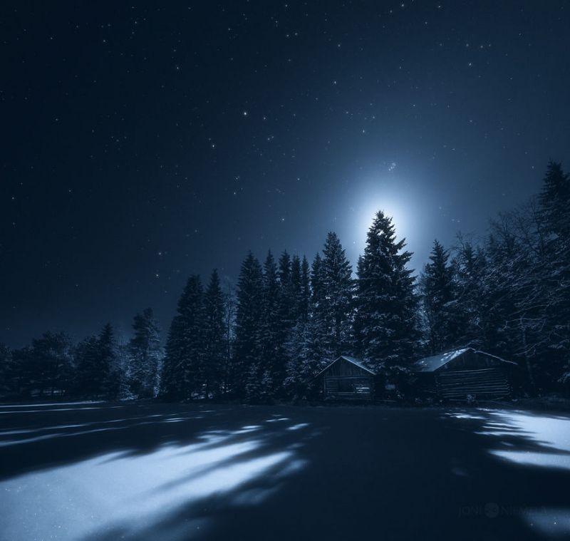 Красота ночного неба Финляндии