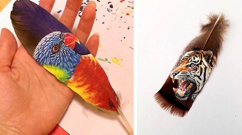 Портреты животных на перьях птиц