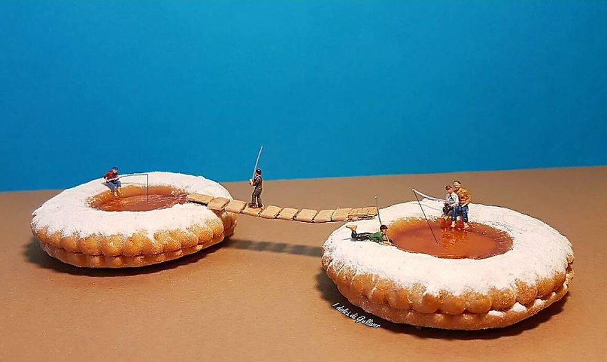 Миниатюрные человечки в мире гигантских десертов