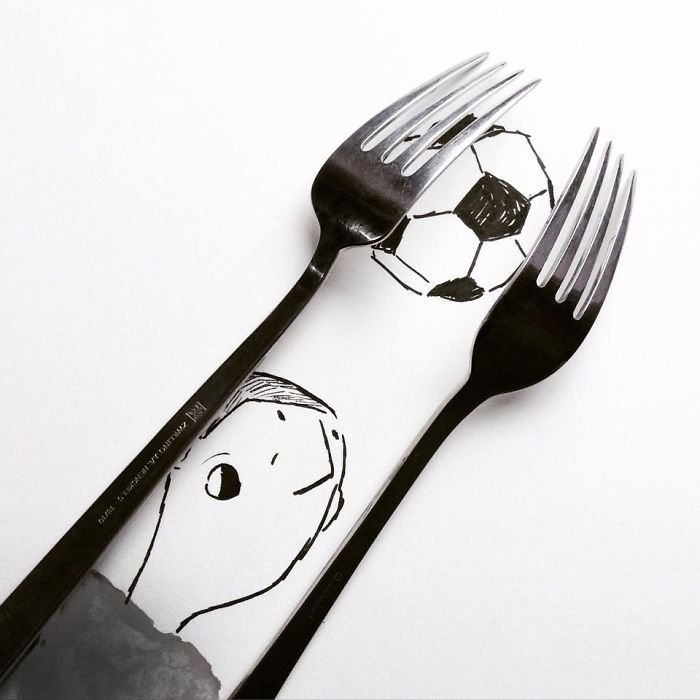 Креативные рисунки с предметами от Кристиана Менсы