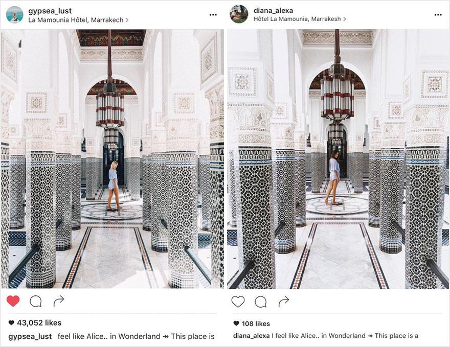 Пара обнаружила, что кто-то в точности копирует их снимки поездок из Instagram
