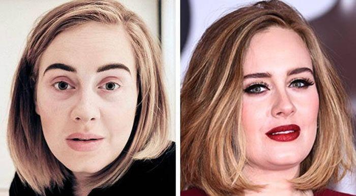 Зарубежные звезды с макияжем и без