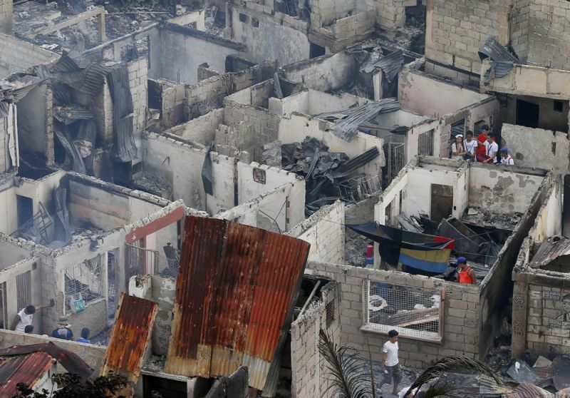Крупный пожар в Маниле