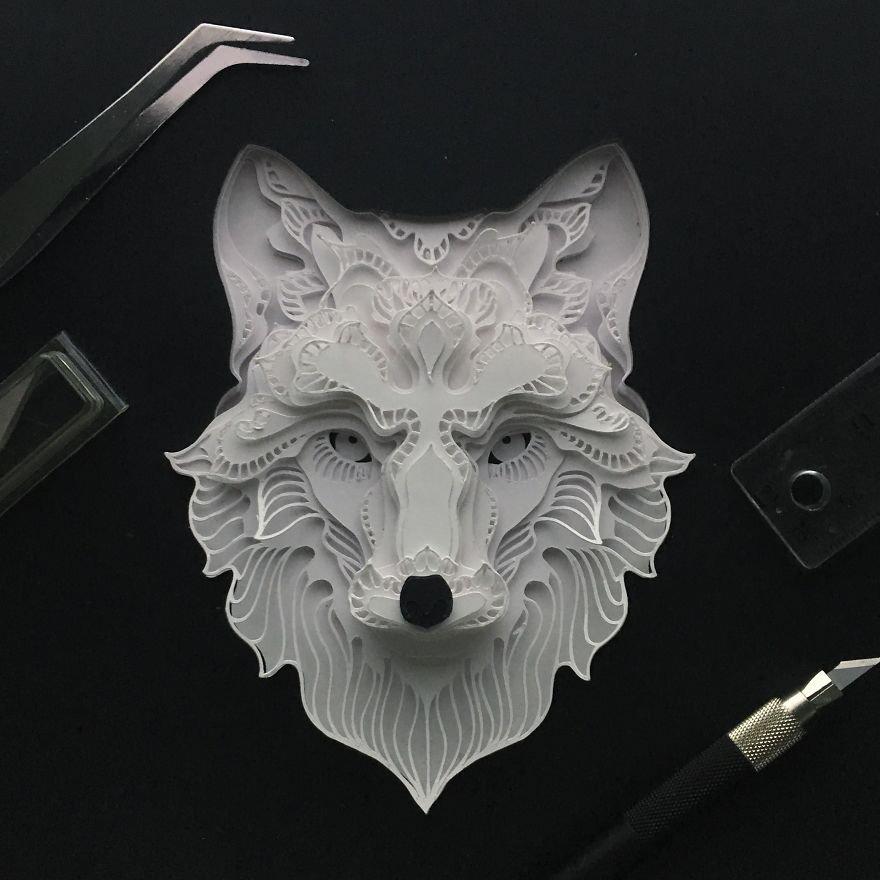 Портреты животных, вырезанные из бумаги