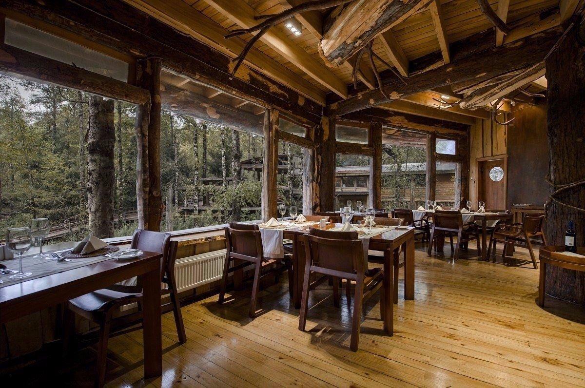 Атмосферная гостиница в лесах Патагонии не далеко от Чили