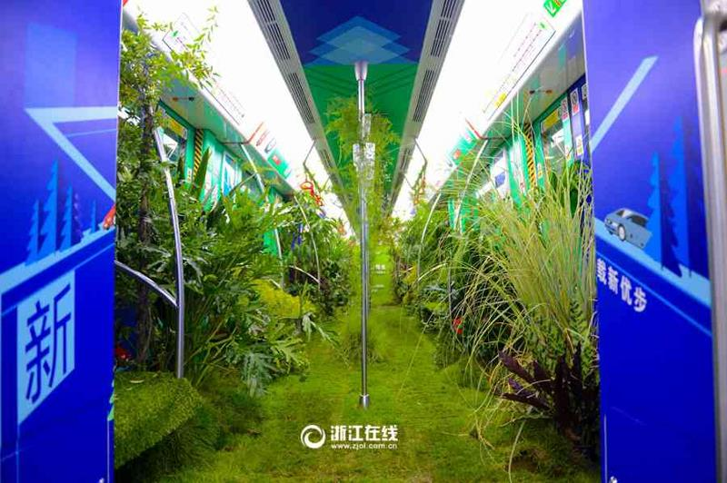 В Китае вагон метро превратили в зеленый лес