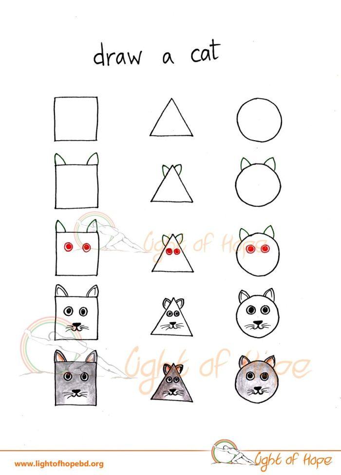 Как нарисовать животных с помощью простых фигур