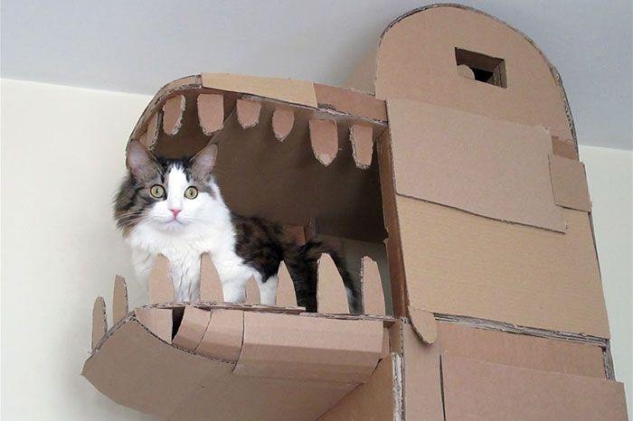 Картонный замок для любимой кошки