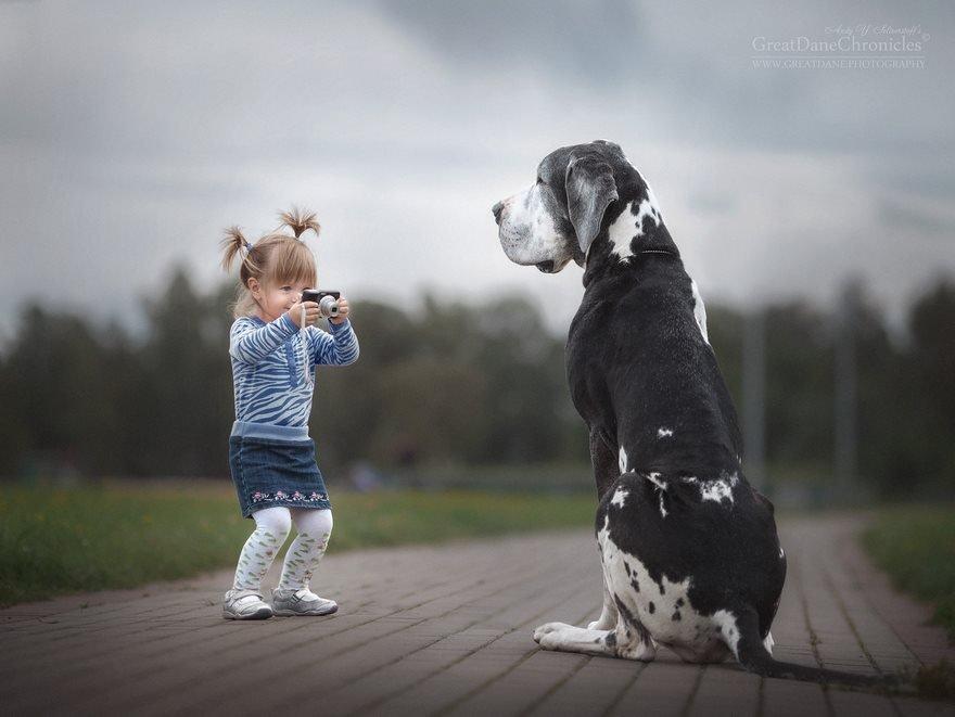 Маленькие дети и их большие собаки