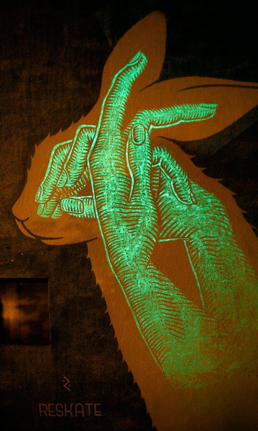 Граффити, которые оживают в темноте