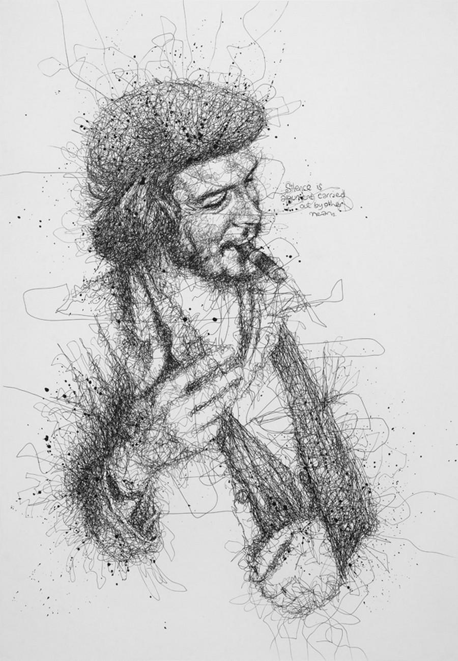 Оригинальные портреты знаменитостей, нарисованные каракулями