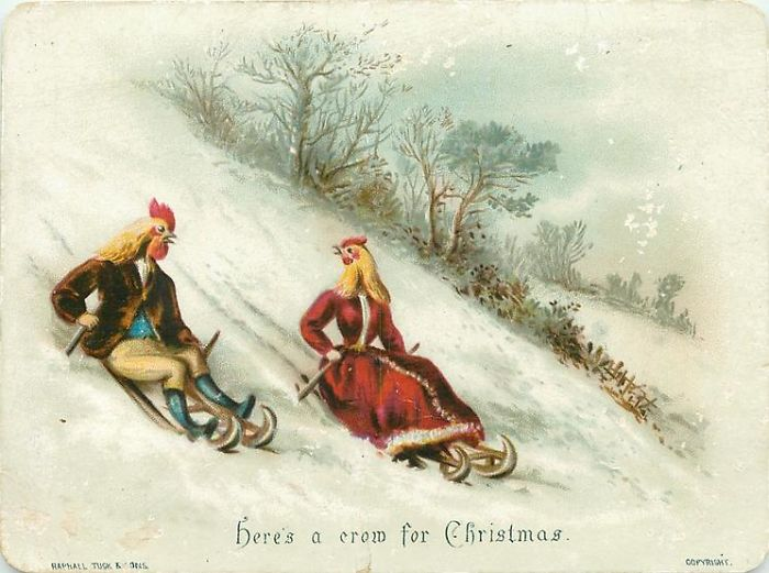 Странные и жуткие рождественские открытки из Викторианской эпохи