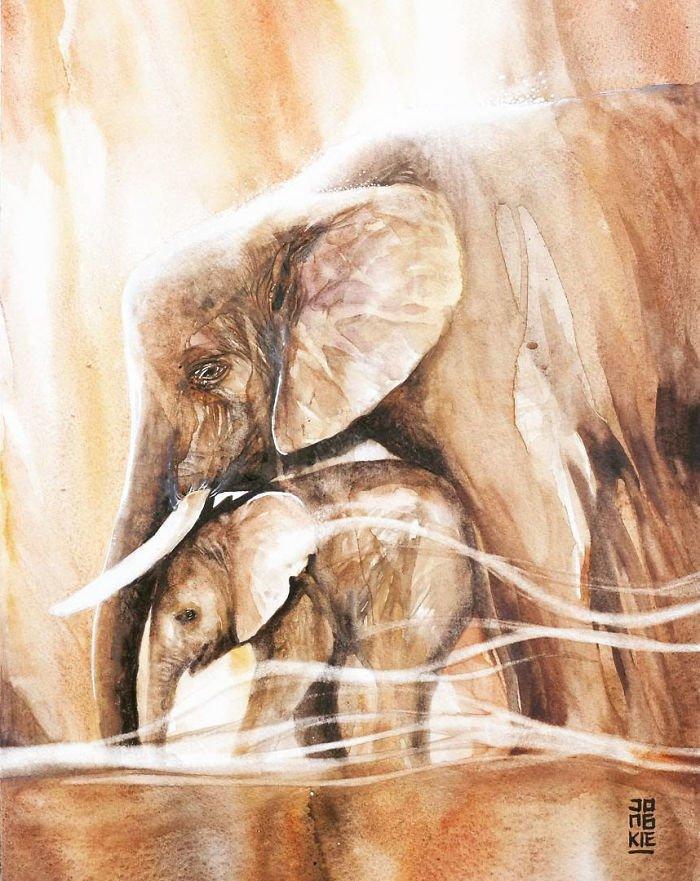 Акварельные рисунки животных
