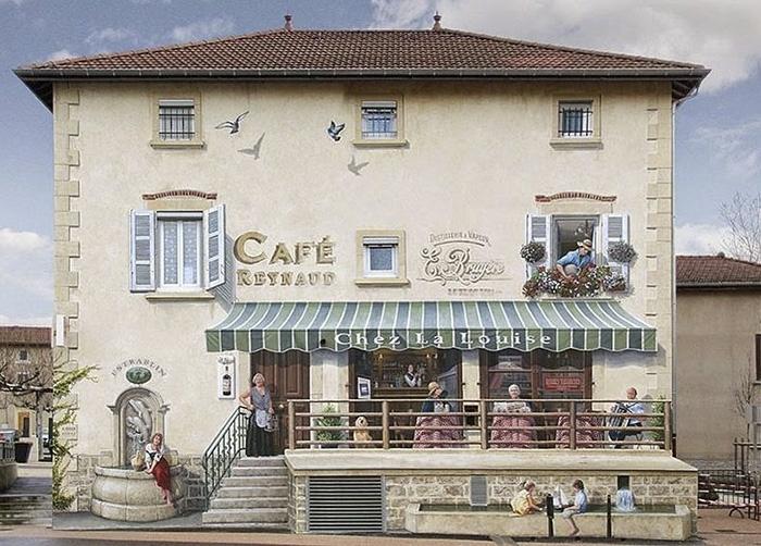 Французский уличный художник превращает фасады домов в яркие полотна