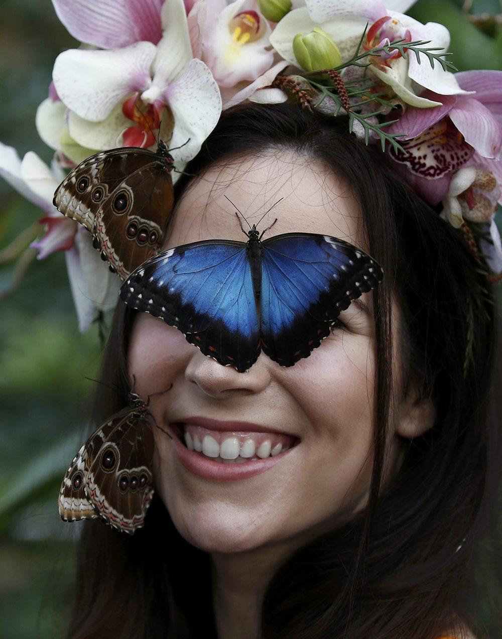Позитивная фотосессия с бабочками