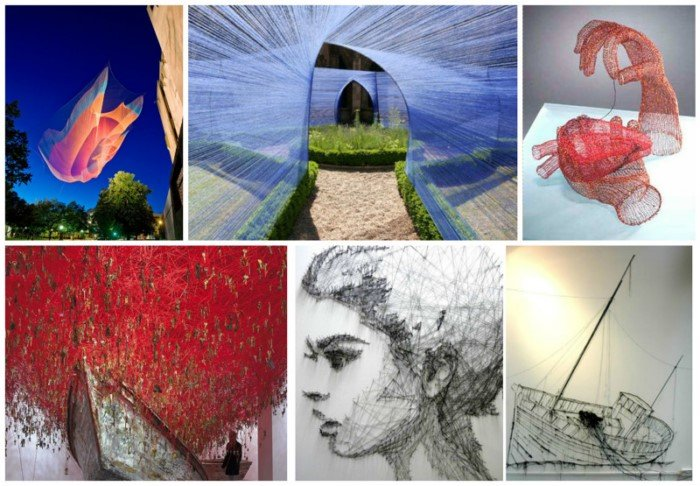 Ниточное искусство от разных художников