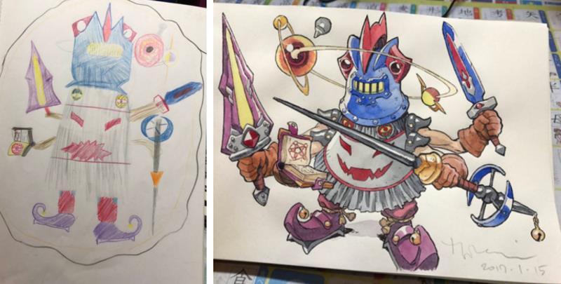 Папа превращает рисунки сыновей в аниме-персонажей
