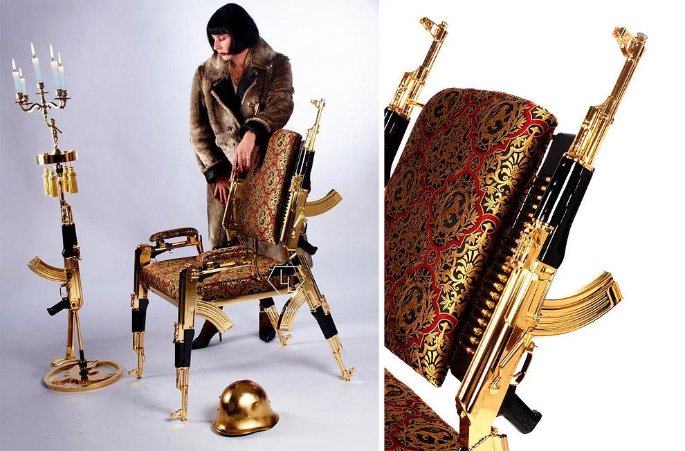 Позолоченный стул из настоящих автоматов Калашникова