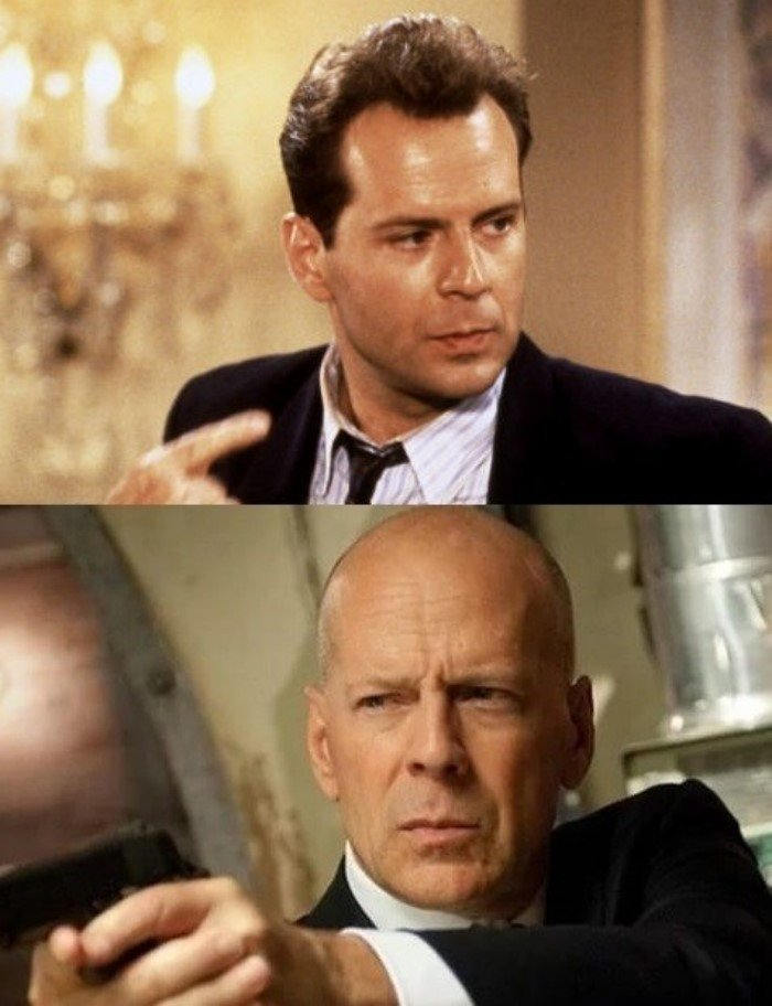 Знаменитые актеры в одном из первых фильмов и в одном из последних