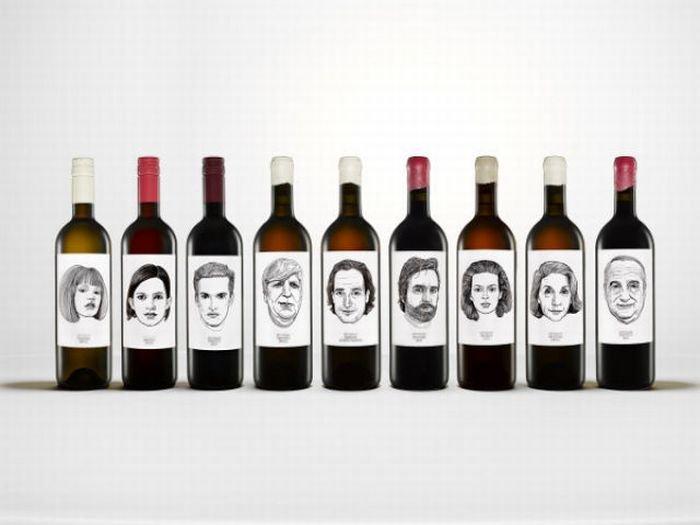 Креативные бутылки вина и этикетки