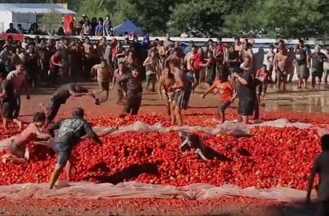 Ежегодая битва помидорами в Чили