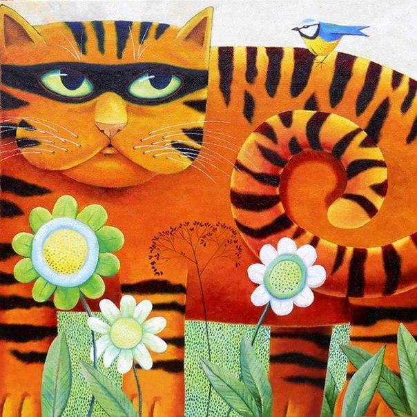 Милые и обаятельные коты на картинах Vicky Mount