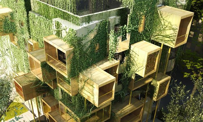 Новые жилые модули на старых зданиях в Париже