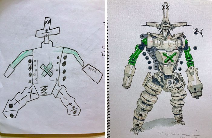 Художник превращает рисунки сыновей в невероятных аниме-персонажей
