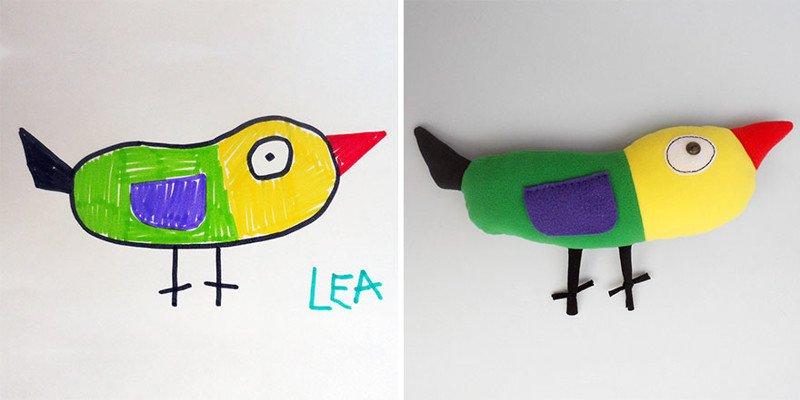 Художница шьет игрушки по мотивам детских рисунков