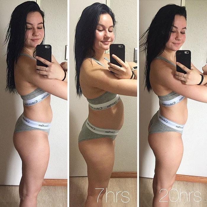 Подтянутый живот на снимках: до и во время фото