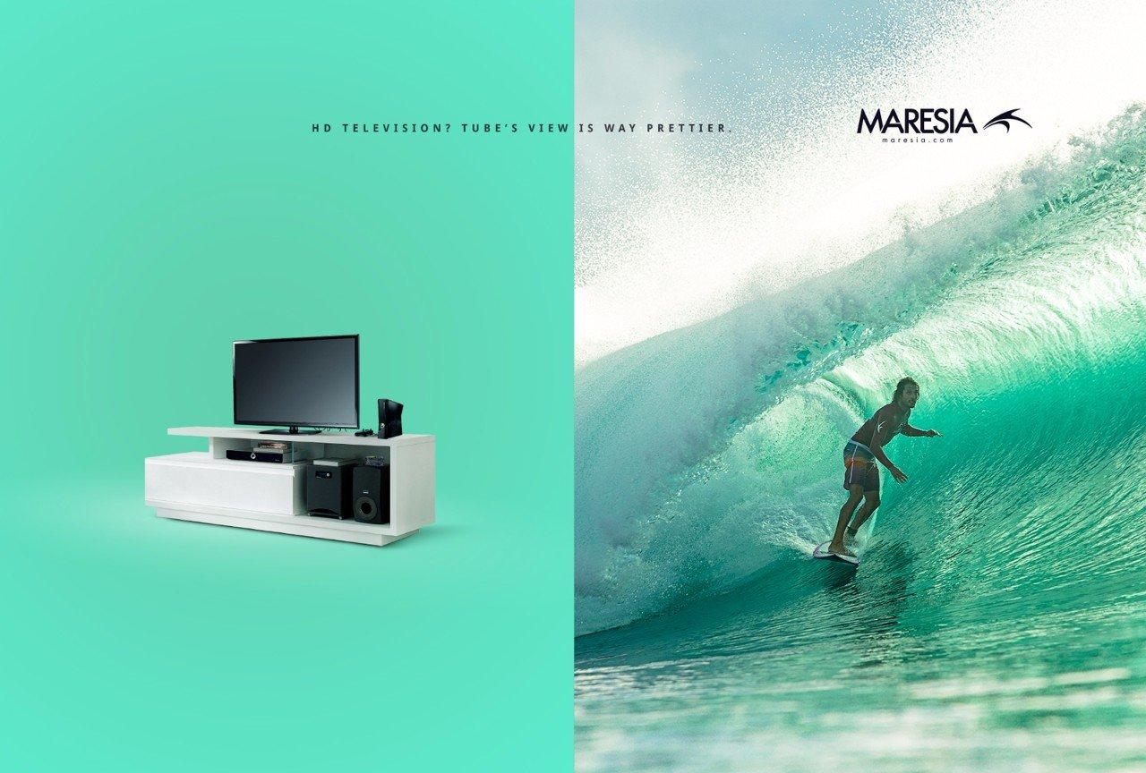 Реклама одежды для серфинга: Убеги от рутины