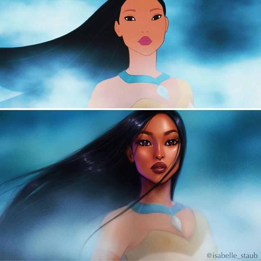Иллюстратор создает реалистичных диснеевских принцесс