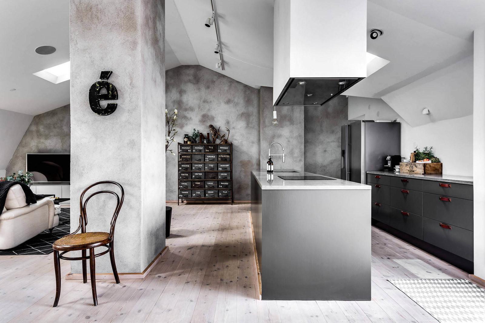 Интерьер двухуровневой квартиры в Стокгольме