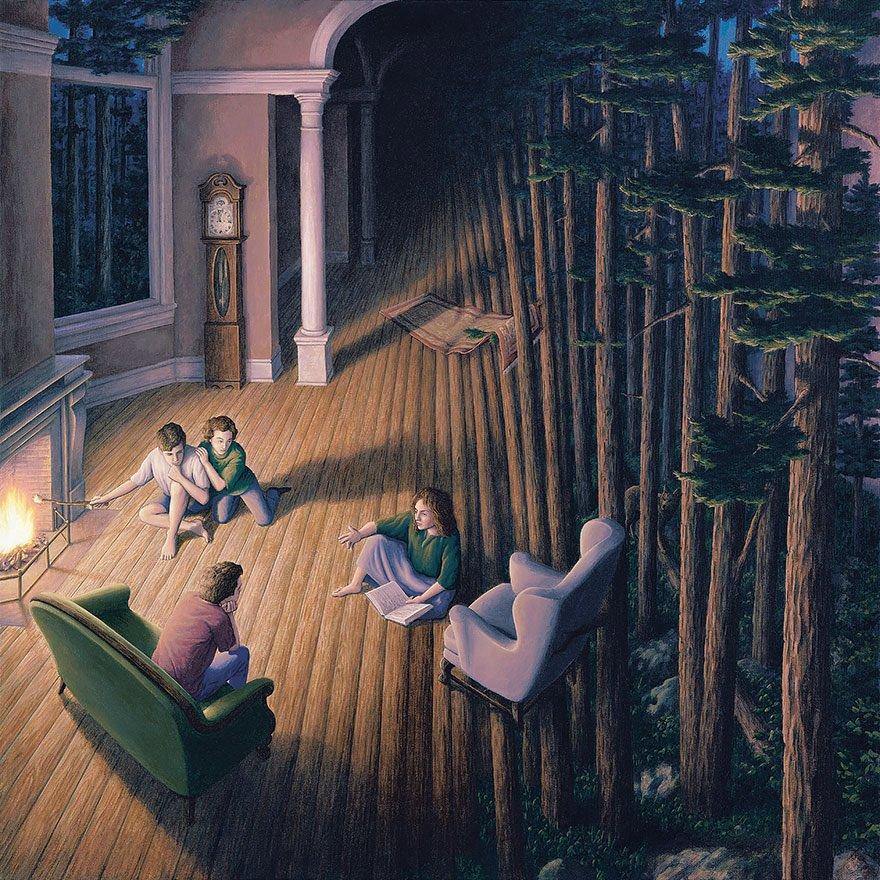 Оптические иллюзии в картинах Роберта Гонсалвеса