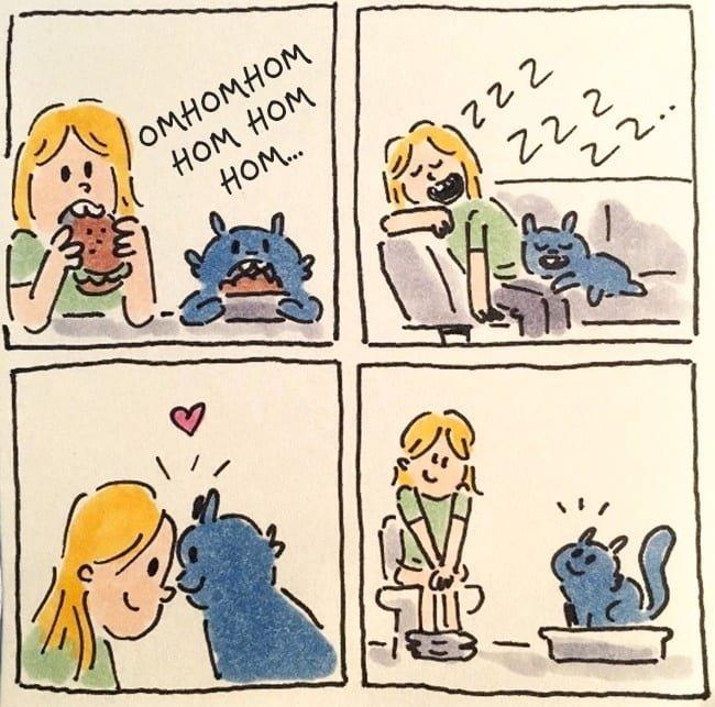 Забавные и правдивые комиксы о жизни с котом