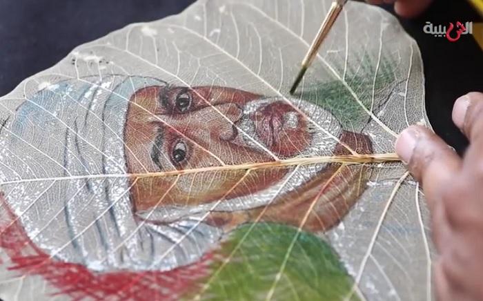 Рисунки на листьях от индийского художника